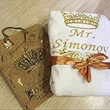Прекрасный подарок для любимого-махровый халат с вышивкой